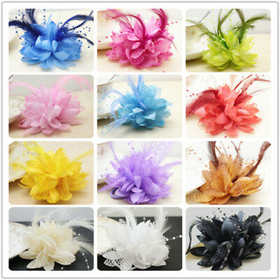 14 Colors Flower Feather Fascinator Bridal Bead Corsage Hair Clips Hairband Gift 4
