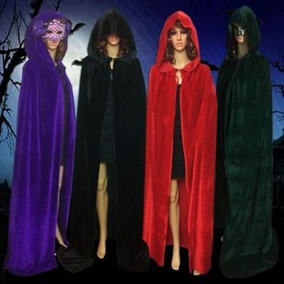 1 of 7 womens mens velvet halloween wedding capes cloaks hooded wicca robe christmas