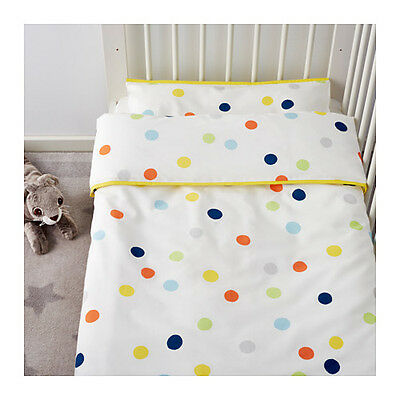 IKEA DROMLAND 166 Thread Count Quilt Cover Pillowcase Set for Cot Baby Infant 2
