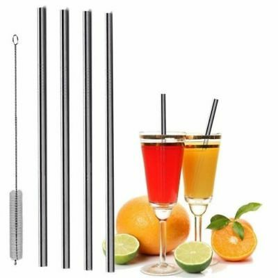 4 Straight Reusable Drinking Straws Metal Stainless Steel Eco-Friendly 10.5in 2