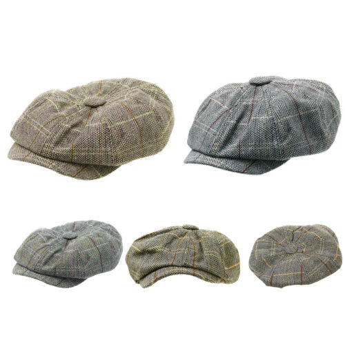 AU Mens Flat Cap Tweed 8 Panel Newsboy Baker boy Hat Gatsby Peaky Blinders  Top 2 2 of 11 ... 22fa510169ba