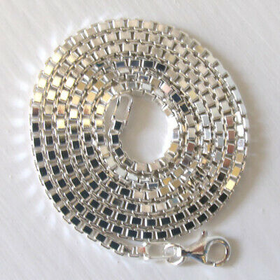 """Italian Solid Sterling Silver 2mm Diamond Cut Box Chain Necklace 16/"""" to 24/"""""""