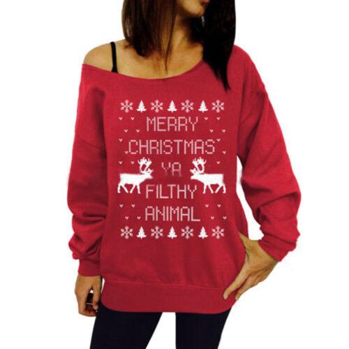 Women One Shoulder Christmas Top Sweater Casual Pullover Jumper Shirt Sweatshirt 6