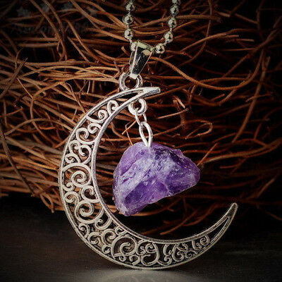 Natural Quartz Crystal Pendant Chakra Healing Gemstone Moon Necklace Jewelry 4