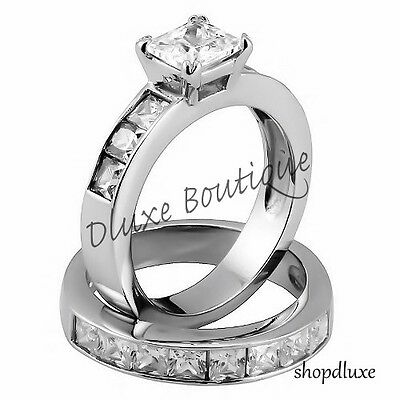3.75 Ct Princess Cut AAA CZ Stainless Steel Wedding Ring Set Women's Size 5-10