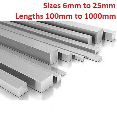 ALUMINIUM SQUARE BAR 6mm 8mm 10mm 11mm 13mm 16mm 19mm 22mm 25mm select size 3