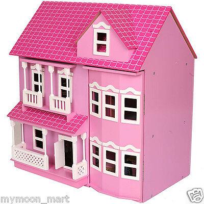Brand New Victorian Pink Wooden Dolls Doll House w/ 40+ Furniture & 4 Dolls 2