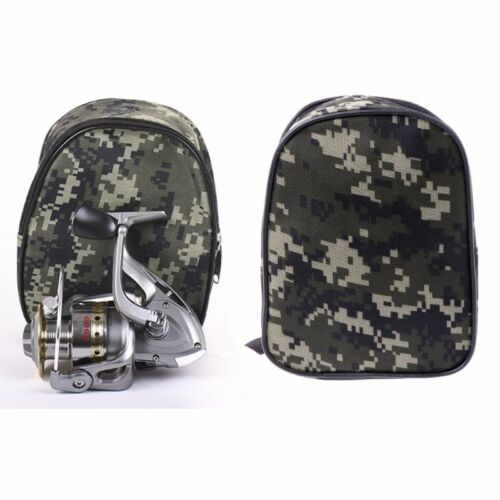 Camouflage Fishing Reel Cover Padded Mini Bag Pocket Fishing Tackle Pouch Case
