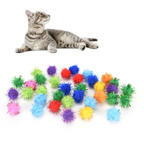 100x Mini Sparkly Glitter Tinsel Pompom Balls Pet Cat Toys for Hamster Parrot