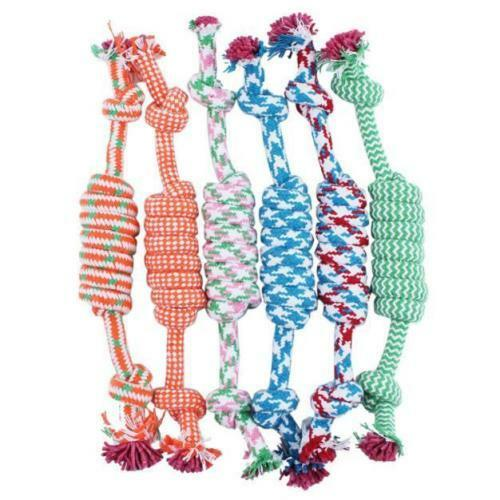 NEW Puppy Dog Pet Chew Toy Cotton Braided Bone Tug Play Game Rope Knot Toy 8