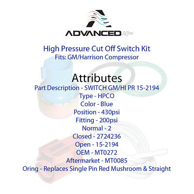 New AC A//C High Pressure Cut Off Switch Kit Fits GM//Harrison Compressor MT0678