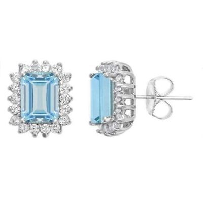 0.80ct Diamond Created Square Round Halo Stud Earrings 14k White Gold Plated 3