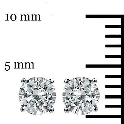 .50 Ct Stud Earrings 14K White Gold Round Cut Basket Set Screw back Pierced 5