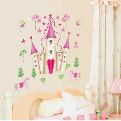 PRINCESS CASTLE WALL DECALS Hearts & Stars Stickers Girls ...