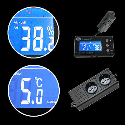 Thermostat + Hygrostat Alarm Tag/nacht Digital Terrarium *display Extern* Txh