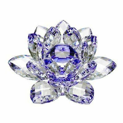 Large Blue Crystal Lotus Flower Ornament With Gift Box  Crystocraft Home Decoruk 2