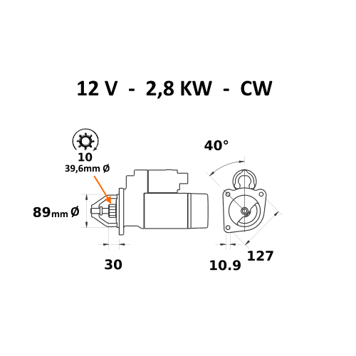 Motor de arranque Starter 10 diente para Perkins-MF Schaeff Lucas 26281