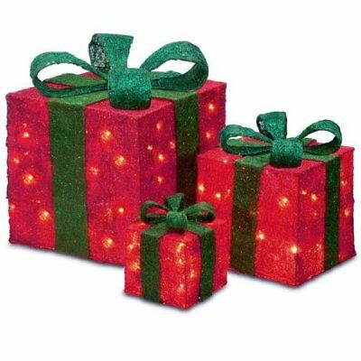 3 Piece Led Light Up Christmas Presents Parcel Bow Gift Set Decorations Xmas Red