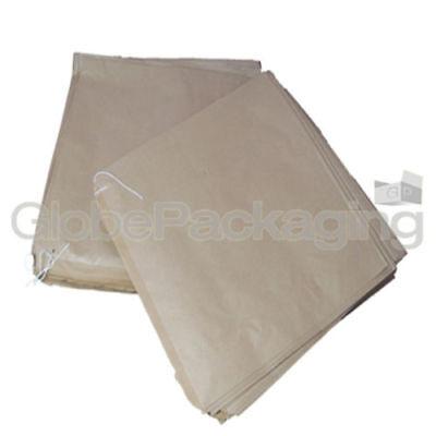 "100 x BROWN FLAT KRAFT PAPER FOOD BAGS - 10"" x 10"" 3"
