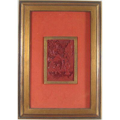 Par de (2) Enmarcado Antigüedad Asiático Cinnabar Tallas 11 7/20.3cmx43.2cm Each 2