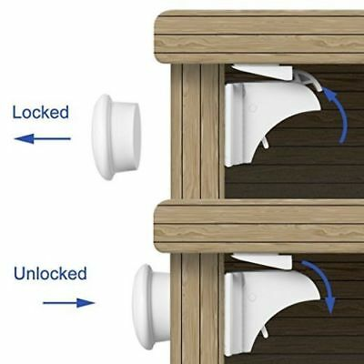 Invisible Magnetic Baby Child Pet Proof Cupboard Door Drawer Safety Lock Catch 3