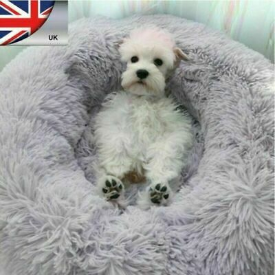 Large Comfy Calming Dog Cat Bed Round Warm Soft Plush Pet Bed Marshmallow Bed XL 2