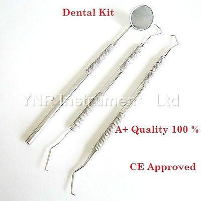 Professional DENTAL 3 PIECE-Scaler Probes-Pick SET + Mouth Mirror Steel Tool Kit 4