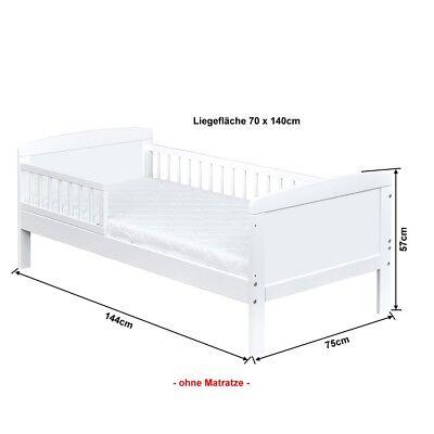 Kinderbett Juniorbett Massivholz in Weiss 140x70cm NEU 6