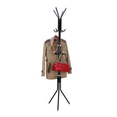 12 Hook Coat Hanger Stand 3-Tier Hat Clothes Metal Rack Tree Style Storage Black