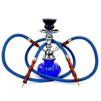 2 Hose Hookah Glass Water Pipe Vase Nargila Set RED BLACK BLUE GREEN PINK 3