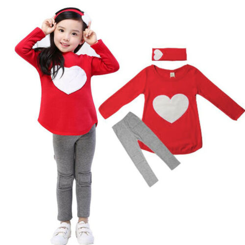 Toddler Kids Girls Tracksuit Sweatshirt Tops + Jogging Pants Outfits Clothes Set 4