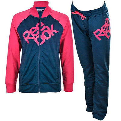 Reebok Girls Full Tracksuit Poly Suit Junior Kids Infant Top Bottoms 3-16 Years 2