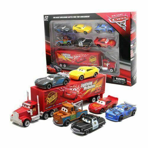For Pixar Car 3 Lightning McQueen Racer Car&Mack Truck Collection 7PCS Set Toys 3