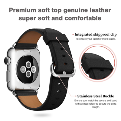 Leather Band Bracelet Strap For Apple Watch Series 4 3 2 1 38mm/40mm/42mm/44mm 4