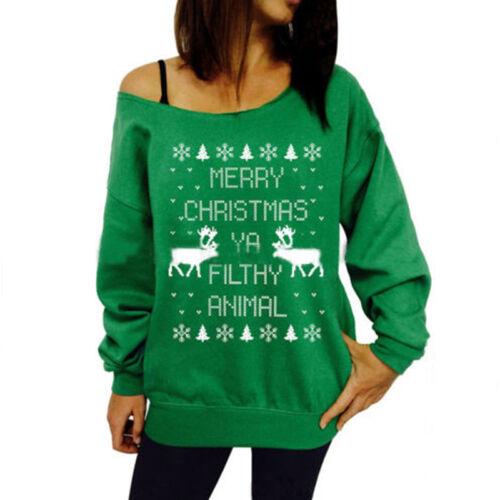Women One Shoulder Christmas Top Sweater Casual Pullover Jumper Shirt Sweatshirt 8