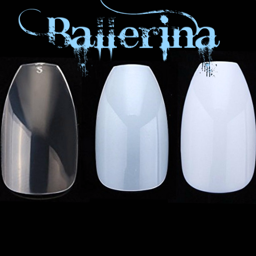 NEW! BALLERINA COFFIN Full Cover *NATURAL* Nail Tips! **YOU CHOOSE ...