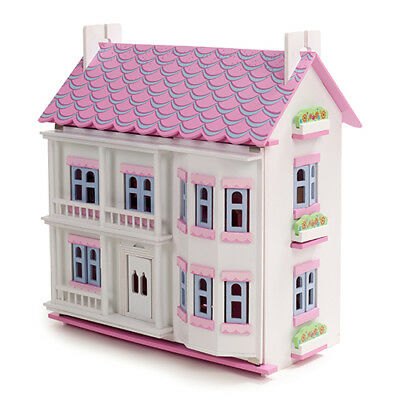 Pink & White Wooden Dolls House Doll House Dollhouse 6 Room Furniture & 4 Dolls 2