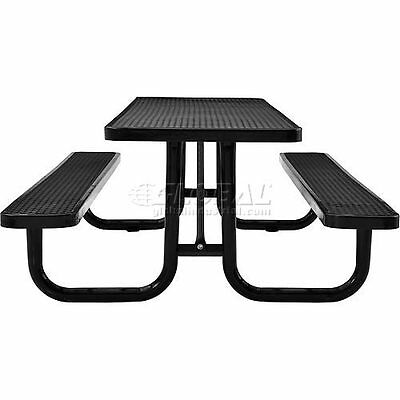 Rectangular Expanded Metal Picnic Table Black PicClick - 96 picnic table