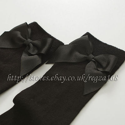 Girls Toddlers Kids Children Ribbon Bow Knee High School Socks 9 months -8 years 5