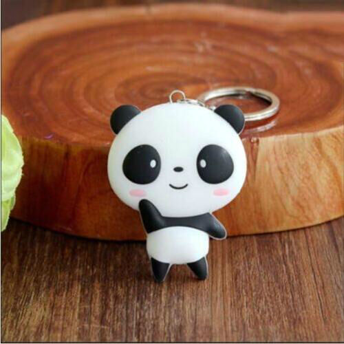 Cute Silicone Cartoon Panda Keychain Keyring Bag Kawaii Pendant Key Ring Chain 3