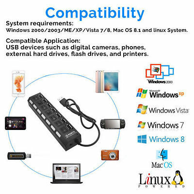 7-Port USB 2.0 Multi Charger Hub +High Speed Adapter ON/OFF Switch Laptop/PC US 2
