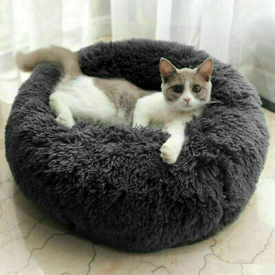 UK Comfy Calming Dog Cat Bed Round Super Soft Plush Pet Bed Marshmallow Cat Bed 3