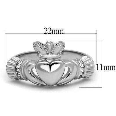 9871e089b77e1 STAINLESS STEEL CRYSTAL CZ Heart Irish Celtic King Claddagh Irish crown Ring