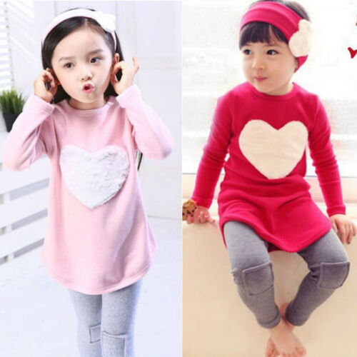 Toddler Kids Girls Tracksuit Sweatshirt Tops + Jogging Pants Outfits Clothes Set 3