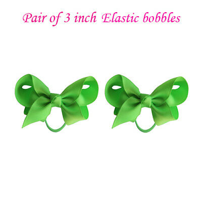 """3"""" Bow Hair inch knot Clips Girls Baby Kids Elastic Bobbles School Quality Bows 3"""