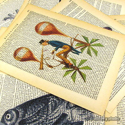 Mr. Vulture Art Print on Antique Book Page Vintage Illustration Birds Scavenger
