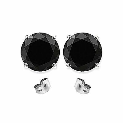 2 Carat 6MM Round Black CZ 925 Silver White Gold Plated Stud Earrings 2
