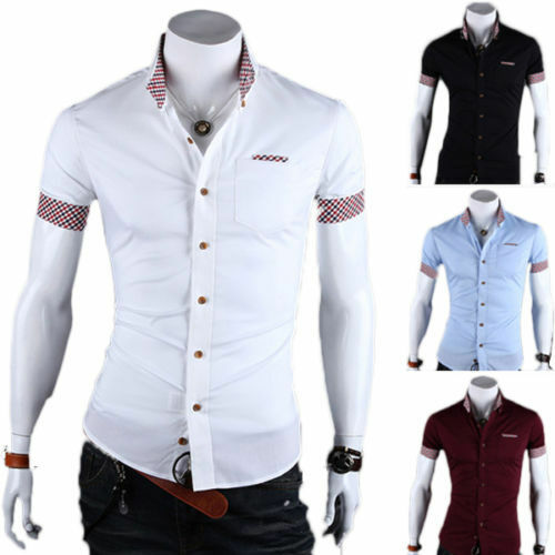 Luxury mens stylish slim fit short sleeve shirt formal for Expensive mens dress shirts brands