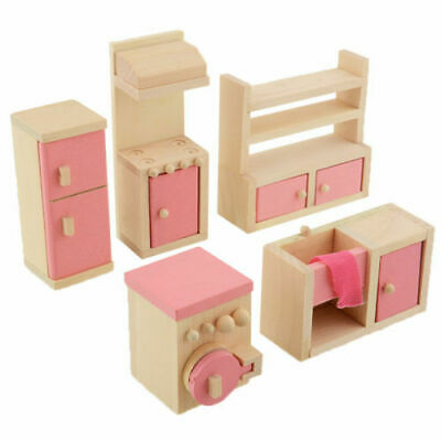 Kid's Children Wooden Furniture Dolls Family House Miniature 6 Room Set Doll Toy 8