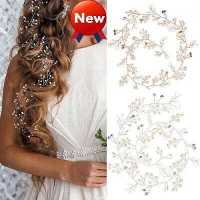 Pearl Hair Vine Wedding Crystal Bridal Accessories Diamante Headpiece Uk 2